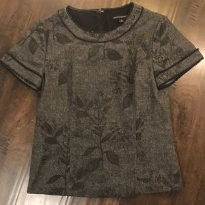 Gray and Black Leaves Dress Blouse